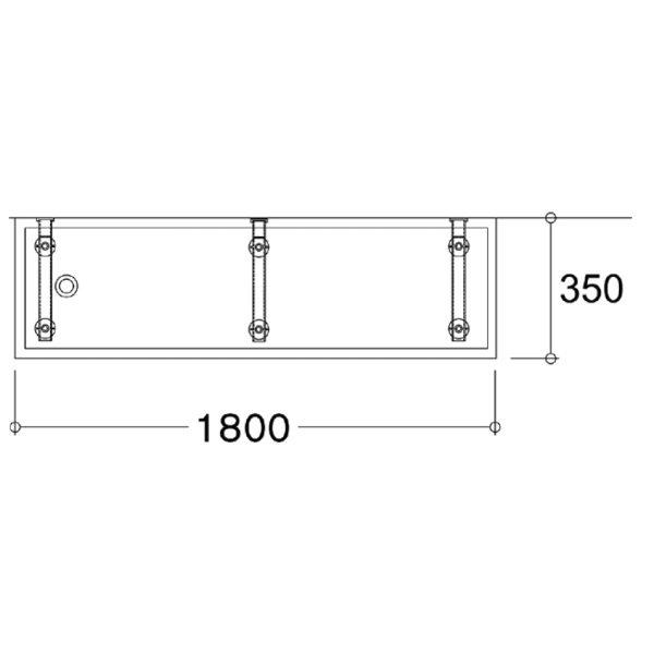 SanCeram 1800mm Solid Surface Wash Trough - Wall Mounted Taps SCTR103