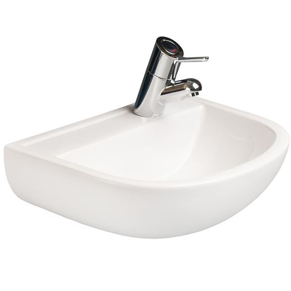 SanCeram Chartham wall hung basin 500mm. Wall mount sink with right hand taphole