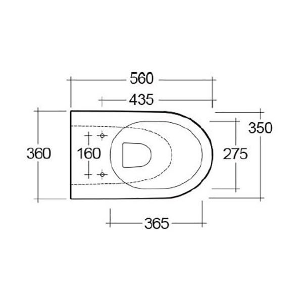 Langley Curve Back to Wall Rimless Toilet Pan - LLWC122 top elovation dims