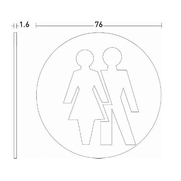 Unisex WC pictogram door sign