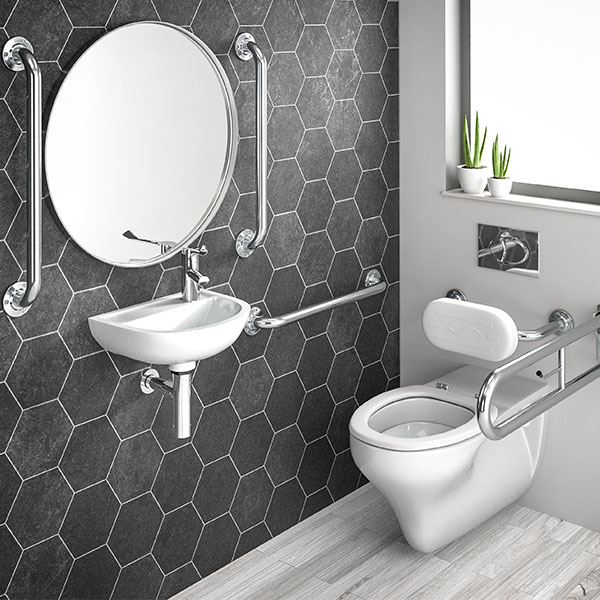 SanCeram Wall Hung Doc M WC Pack LH - Stainless Steel