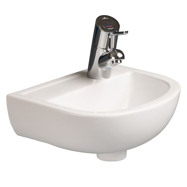 SanCeram Chartham 380 small wall mounted basin. HBN compliant sanitaryware with right hand taphole