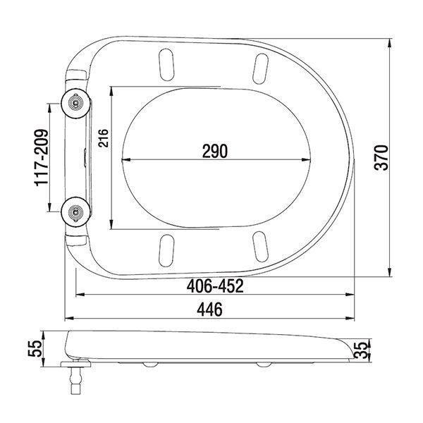 Chartham Standard Toilet Seat & Cover – White Dimensions