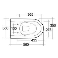 Langley Curve Wall Mounted Rimless Toilet Pan - LLWC121 Top Elovation Dimensions
