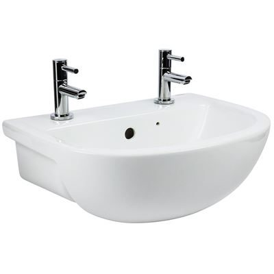 Chartham semi-recessed basin 450mm 2 Tap Holes