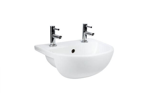 Shenley compact semi-recessed basin 400mm – space saving sink with 2 tap holes