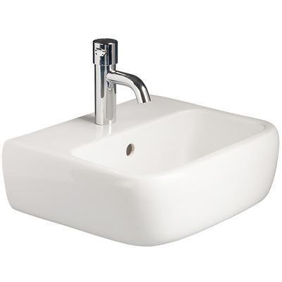 SanCeram Marden 420 wall mounted basin. Small wall hung basin with overflow