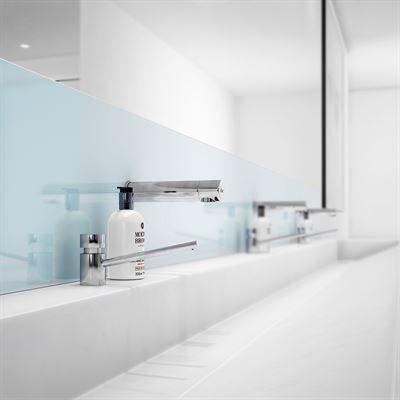 SanCeram 1200mm trough with wall mounted taps