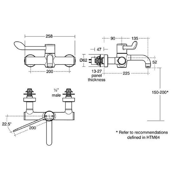 Armitage Shanks Markwik 21+ healthcare lever removable spout mixer spout