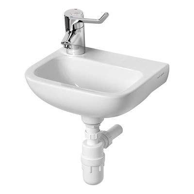 Armitage Shanks Contour 21 370 small wall hung basin left hand taphole. HBN compliant sanitaryware