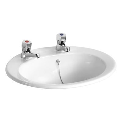 Armitage Shanks Sandringham 500 counter top vanity basin with two tap holes - E895301