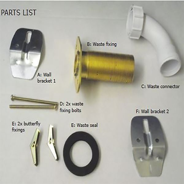 SanCeram Basin Waste Adaptor and Sink Fixing Kit for Chartham Back Outlet Wall Hung Basin