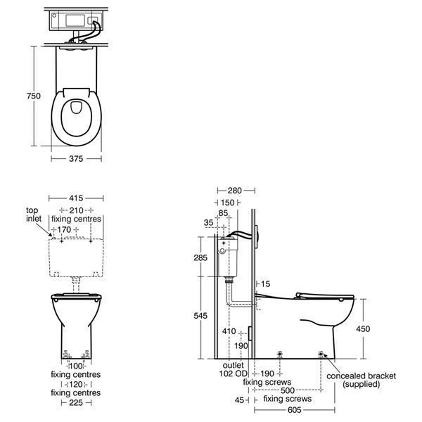 Armitage Shanks Contour 21+ Rimless 750 Back to Wall Toilet Pan - S0438HY