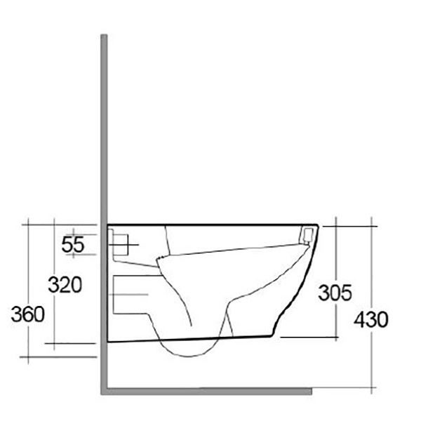 Langley Curve Wall Mounted Rimless Toilet Pan - LLWC121 Side Elovation Dimensions
