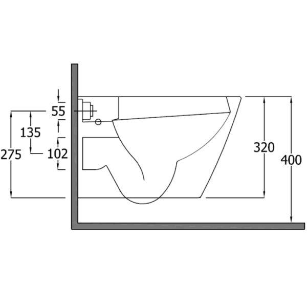 SanCeram Langley wall mounted WC pan