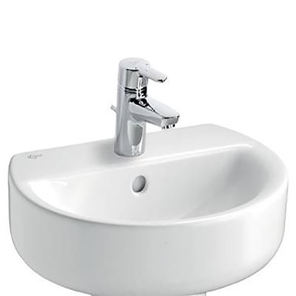 """Ideal Standard Concept sphere 450mm wash basin. Wall mounted basin with central tap hole."""""""
