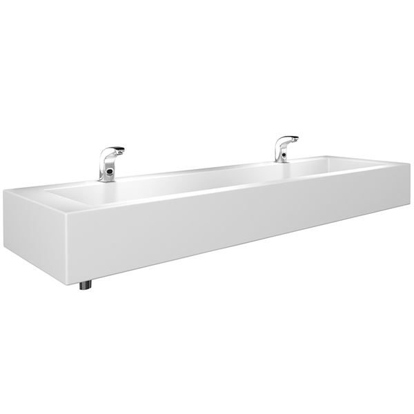 1200mm Solid Surface Wash Trough, Deck Mounted Taps - SCTR102