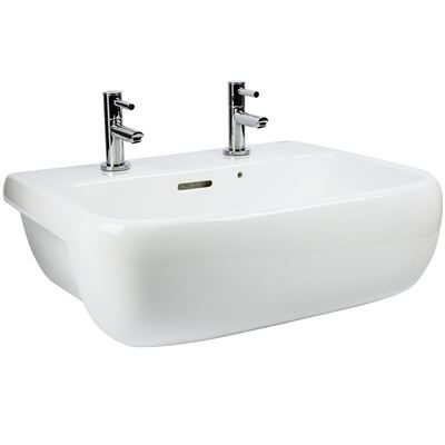 SanCeram Marden 520 semi-recessed vaity basin with two tap holes