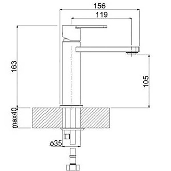 SanCeram Hartley Mono Basin Mixer in Chrome - HABW101