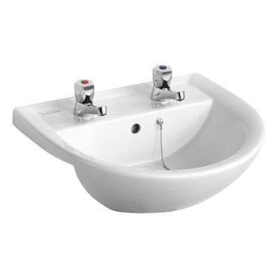 Armitage Shanks semi recessed basin 500mm - Armitage Shanks Sandringham 21 with 2 tap holes