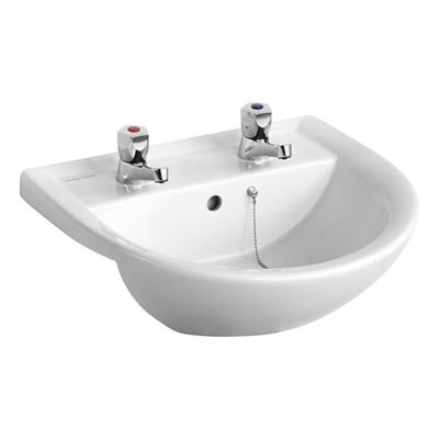 Armitage Shanks semi recessed basin 500mm - Armitage Shanks Sandringham 21 with 2 tap holes